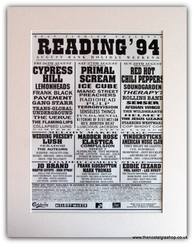 Reading Festival 1994 Advert. Cypress Hill, Primal Scream. (ref AD1830)