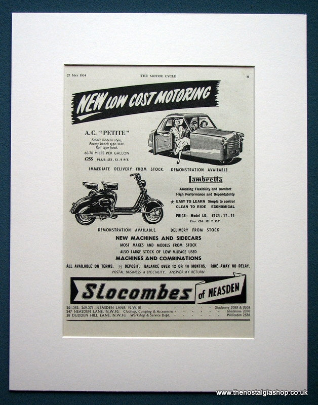 Slocombes of Neasden. Scooter Dealers. Original advert 1954 (ref Ad1313)