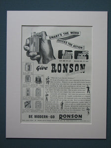 Ronson Lighters 1939 Original advert (ref AD846)