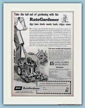 Load image into Gallery viewer, Shay RotoGardener Set of 2 Original Adverts 1955 (ref AD4601)