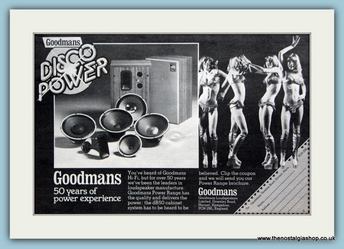 Goodmans Power Speakers Original Advert 1977 (ref AD2102)