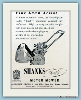Shanks Motor Mower. Original Advert 1951 (ref AD4624)