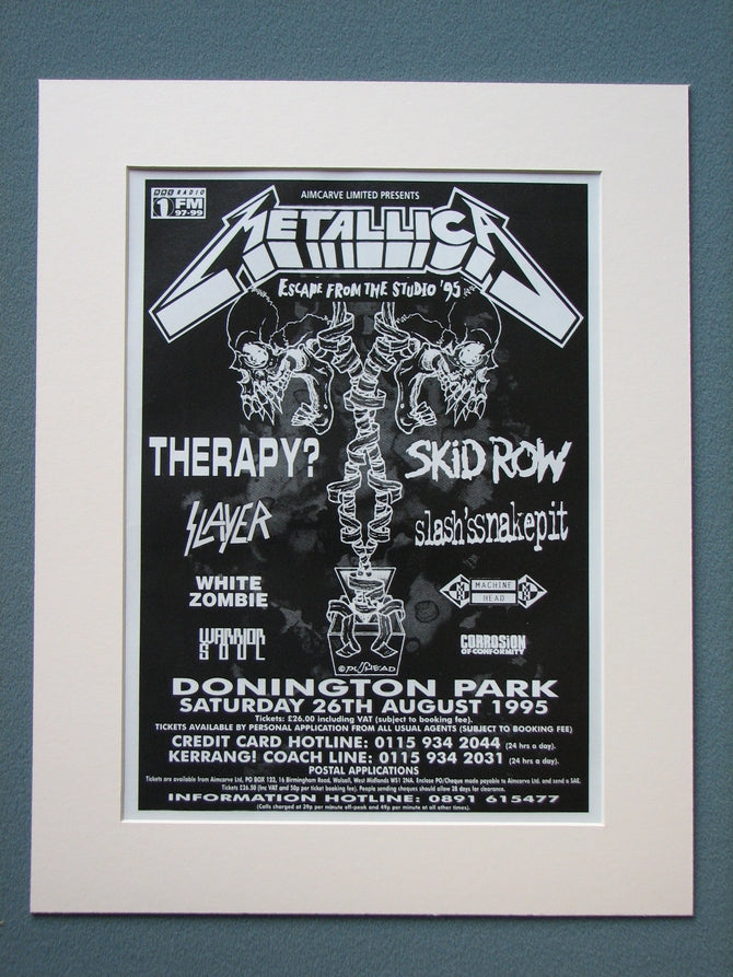 Donington Park Metallica 1995 Original Advert (ref AD876)