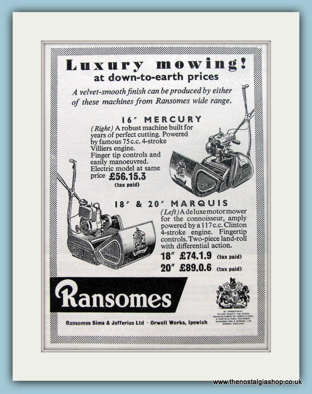 Ransomes Lawn mowers. Original Advert 1961 (ref AD4634)