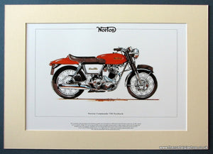 Norton Commando 750 Fastback Mounted Motorcycle Print (ref PR3045)
