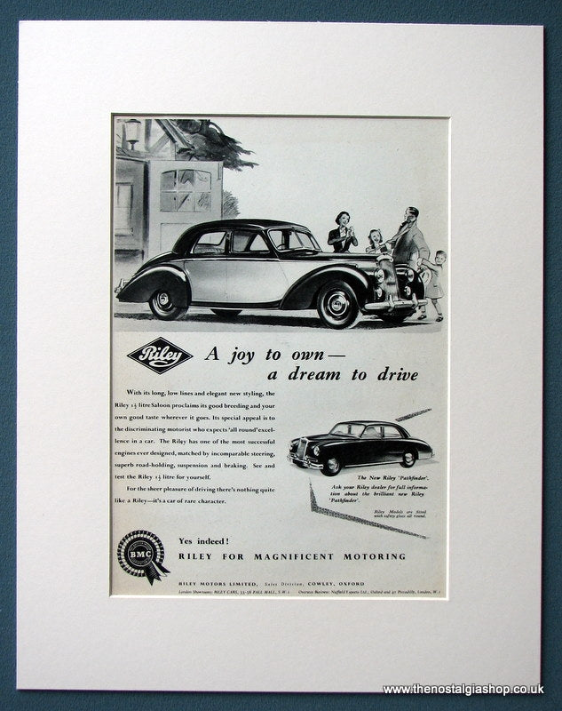 Riley 1.5 Litre Saloon 1954 Original Advert (ref AD1212)