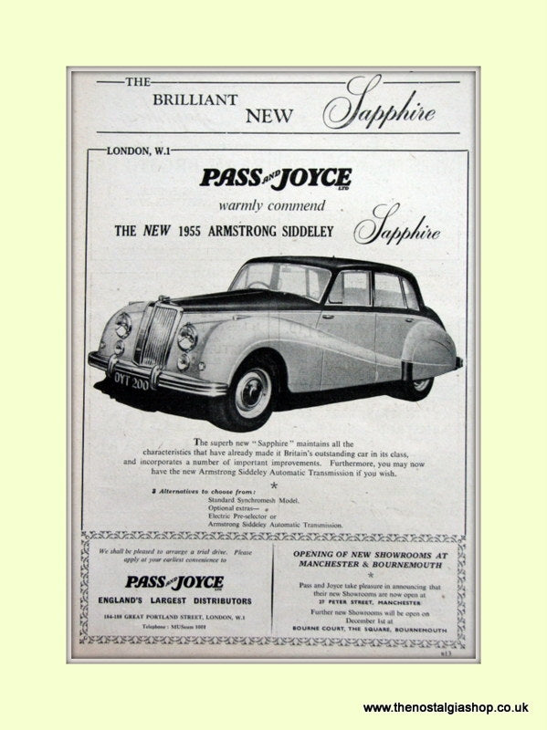 Armstrong Siddeley Sapphire Original Advert 1954 (ref AD6655)