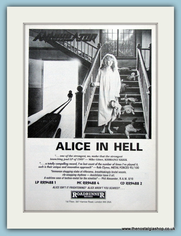Annihilator Alice In Hell 1989 Original Advert (ref AD3158)