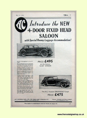 AC Fixed Head Saloon. 1936 Original Advert (ref AD6609)