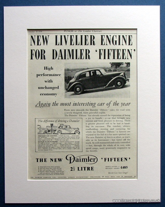 Daimler Fifteen. Original Advert 1938 (ref AD1471)