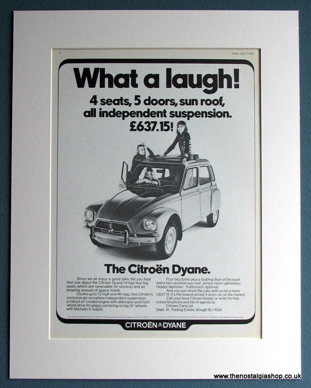 Citroen Dyane 1972 Original Advert (ref AD1700)
