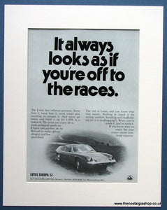 Lotus Europa S2 1971 Original Advert (ref AD1661)