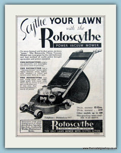 Rotoscythe Lawn Mowers. Set of 2 Original Adverts 1930s (ref AD4627)
