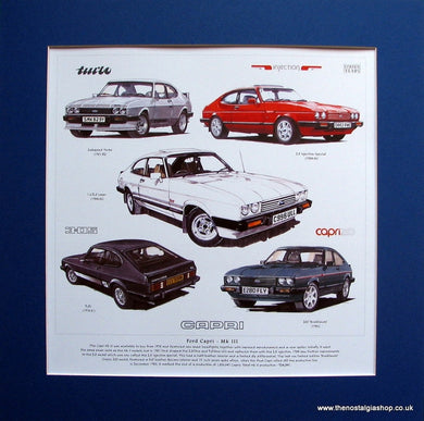 Capri Mk III Mounted Car Print