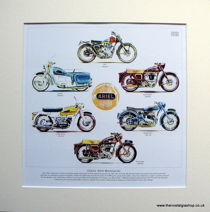 Ariel Motorcycle Mounted Print