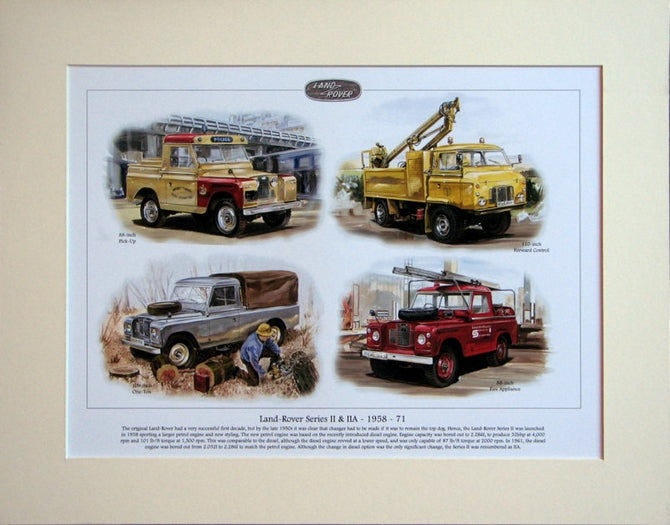 Land Rover Legends II & IIA Mounted Print (ref PR 6004)