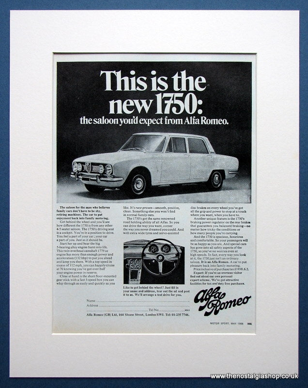 Alfa Romeo 1750. Original advert 1968 (ref AD1413)
