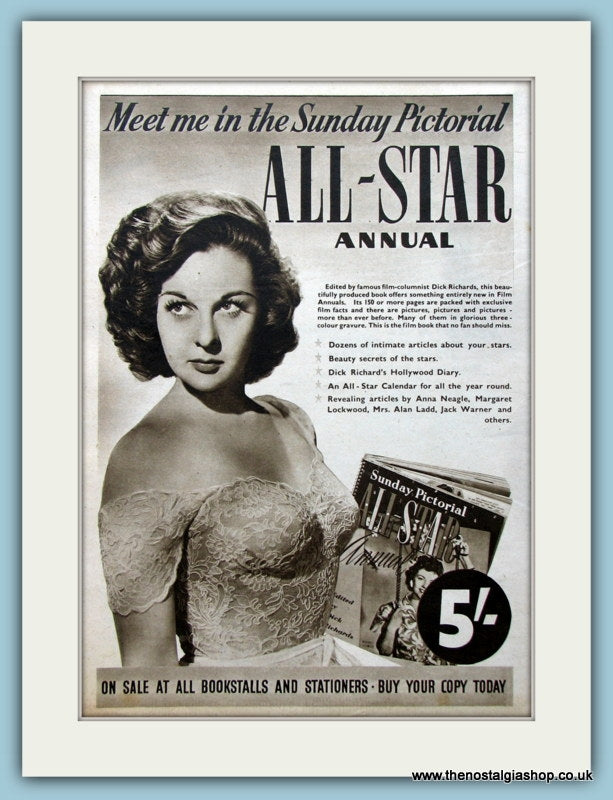 All-Star Annual Sunday Pictorial Margaret Lockwood 1950 Original Advert (ref AD4523)