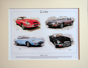 Jaguar  E - Type  Mounted Print