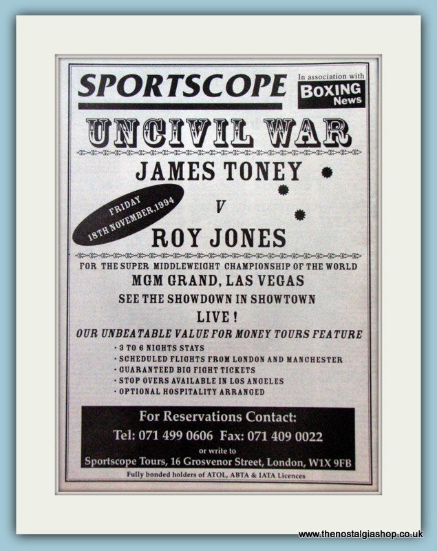 Roy Jones v James Toney. 1994 Original Advert (ref AD4406)