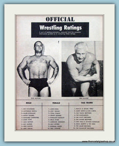 Wrestling Ratings 1960. Vintage Print (ref AD5035)