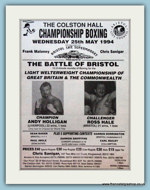 Andy Holligan v Ross Hale 1994 Original Advert (ref AD4407)