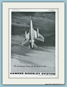 Folland Gnat Hawker Siddeley Original Advert 1961 (ref AD4261)