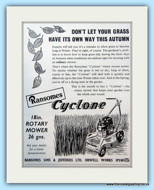 Ransomes Cyclone Rotary Mower. Original Advert 1960 (ref AD4640)