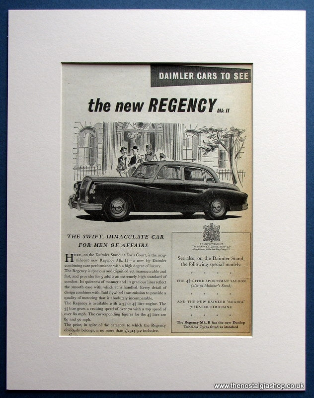 Daimler Regency Mk II Original Advert 1954 (ref AD1472)