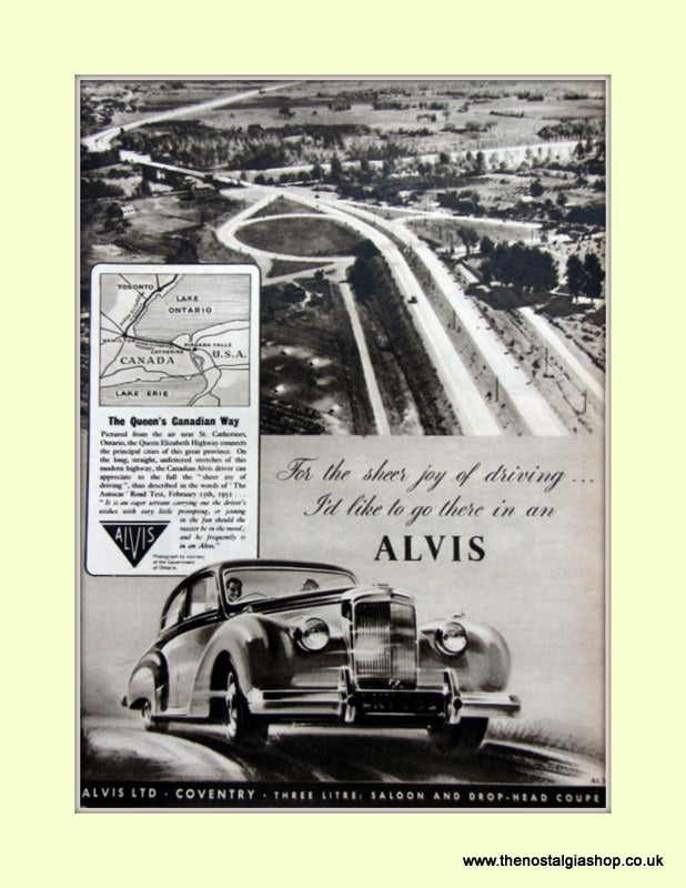 Alvis Canadian Way Original Advert 1953 (ref AD6628)