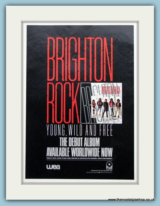 Brighton Rock Young Wild And Free1987 Original Music Advert (ref AD3455)
