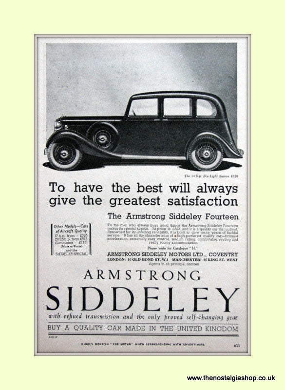 Armstrong Siddeley 14.h.p Six Light Saloon Original Advert 1936 (ref AD6667)
