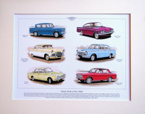 Ford Classics of the 1960`s  Mounted Print