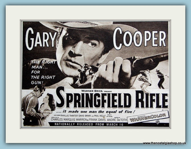 Springfield Rifle starring Gary Cooper. 1953 Original Advert (ref AD3209)