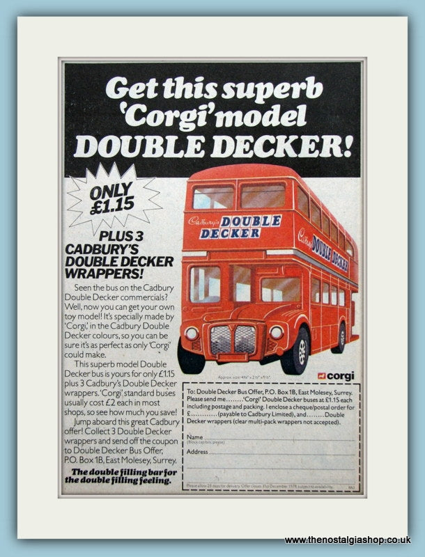 Corgi Double Decker Bus. Original Advert 1980 (ref AD2625)