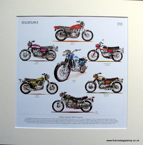 Suzuki Motorcycle Mounted Print