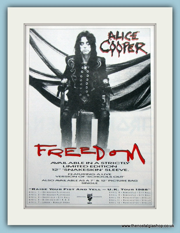 Alice Cooper Freedom. Original Advert  1988 (ref AD3138)