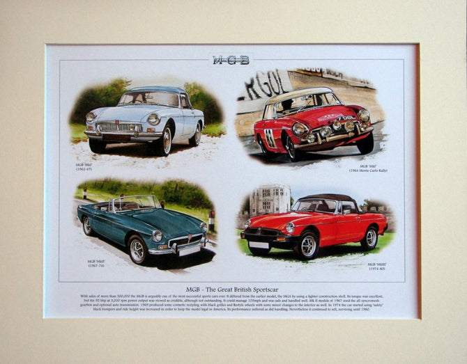 MGB - The Great British Sportscar  Mounted Print