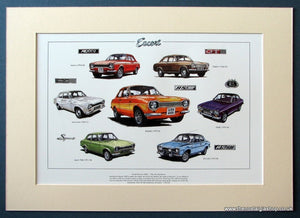 Ford Escort Mk I  The Performers. Mounted print (ref PR57)