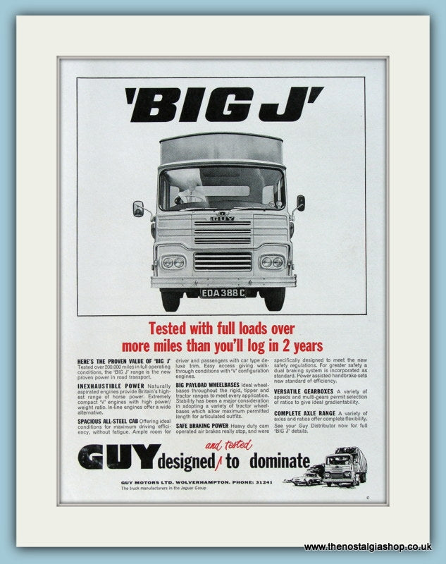 Guy Big J Truck Original Advert 1966 (ref AD2970)