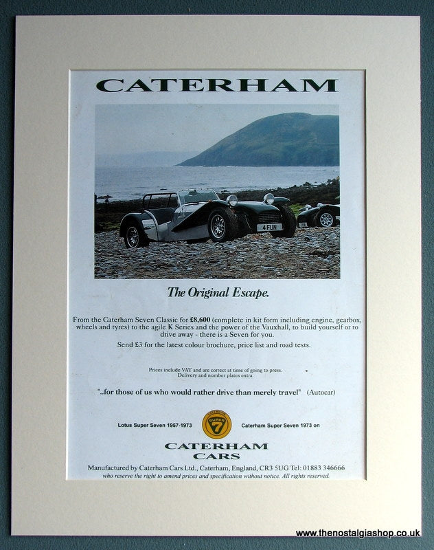 Caterham Super Seven 1996 Original Advert (ref AD1724)