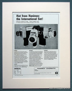 Hanimex Loadmatic M200T, MP400T, MP500T 1968 Original Advert (ref AD1071)