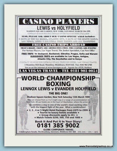 Lennox Lewis v Evander Holyfield. Set of 3 Adverts 1999 (ref AD4399)
