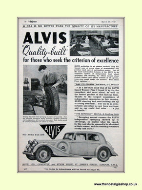 Alvis Original Advert 1937 (ref AD6619)
