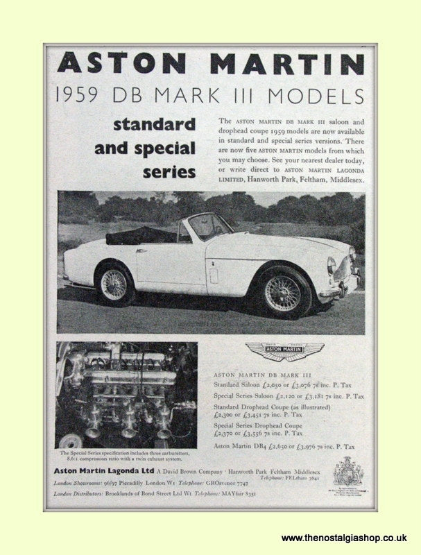 Aston Martin DB III 1959 Original Advert. (ref AD6707)