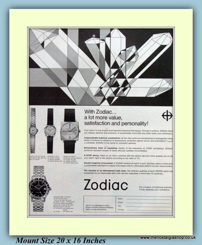 Zodiac Watches Original Advert 1966 (ref AD9380)