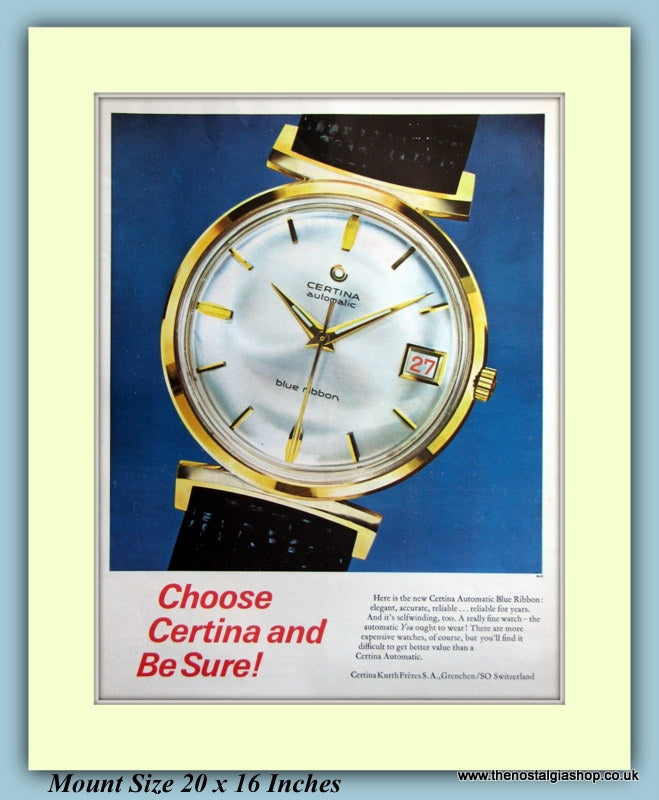 Certina Automatic Blue Ribbon Original Advert 1963 (ref AD9425)