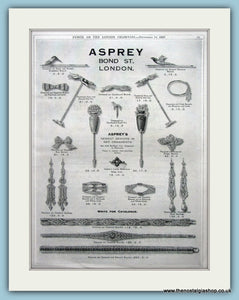 Asprey Bond Street Jewellers Set Of 2 Original Adverts 1927 (ref AD6260)