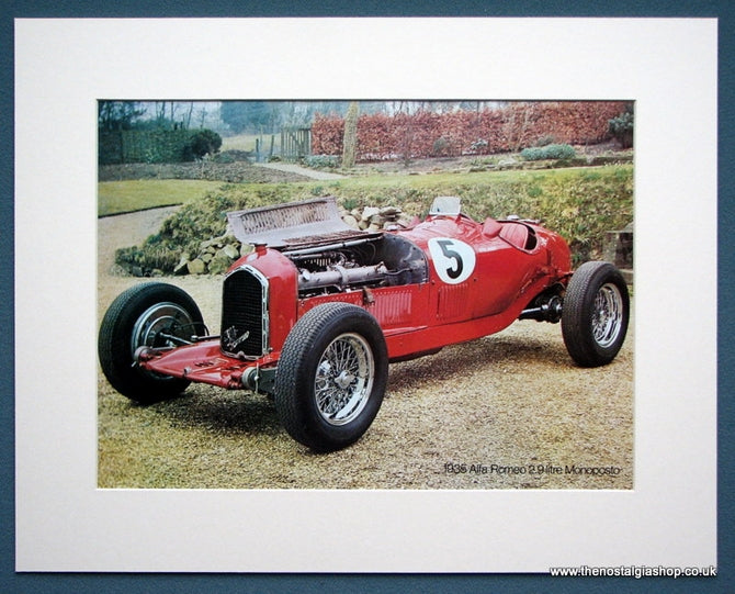 Alfa Romeo 2.9 Litre Monoposto 1935. Colour Photo Print 1970 (ref AD1325)