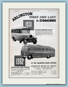Arlington Coaches Original Advert 1962 (ref AD2975)